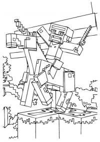 Майнкрафт верхом на единороге Скачать раскраски для мальчиков