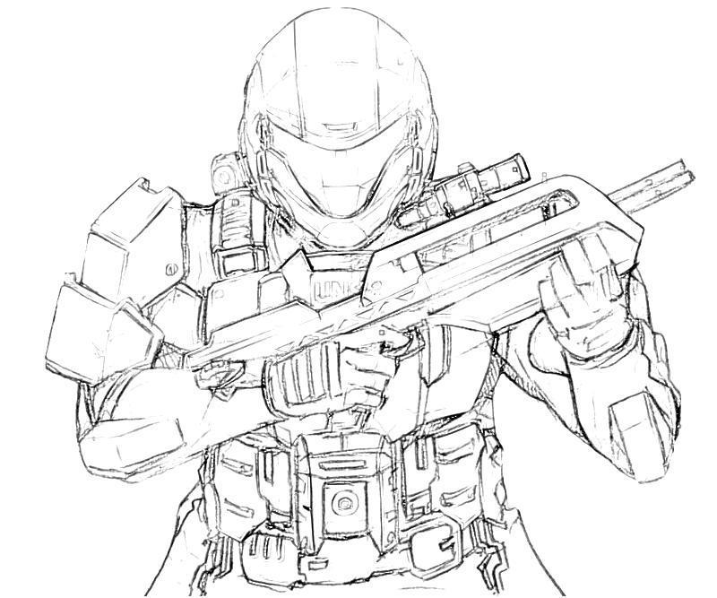 Солдат в шлеме с автоматом Раскраски для мальчиков бесплатно