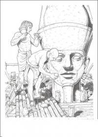 Древний мир, египет, статуи фараона, люди, скульпторы Раскраски для мальчиков