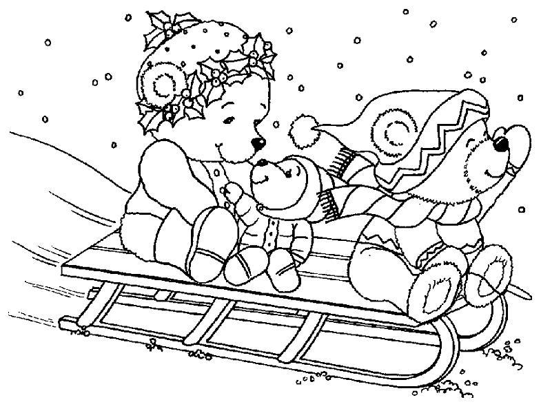 Мишки катаются на санках, падает снег Раскраски для мальчиков