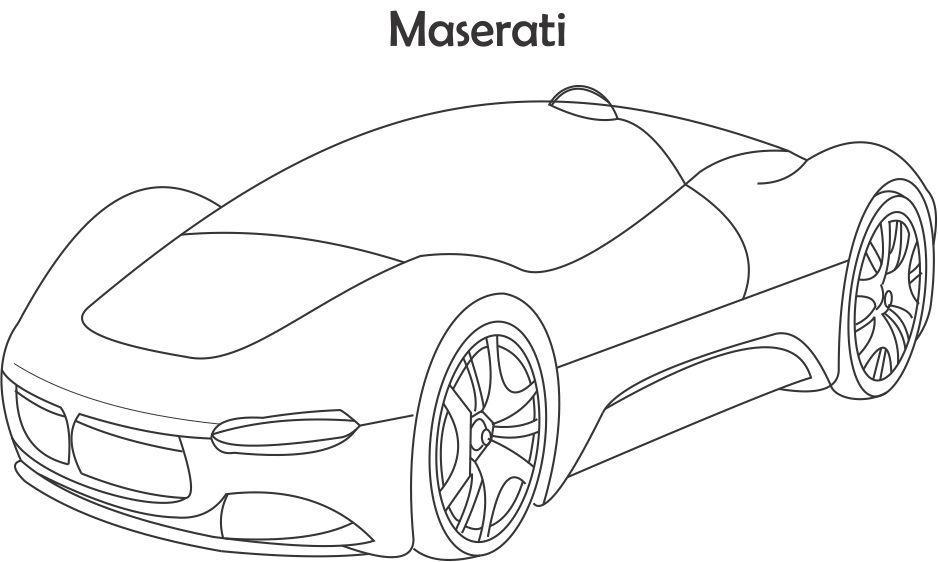 Суперкары гоночные авто, масерати Раскраски для мальчиков бесплатно