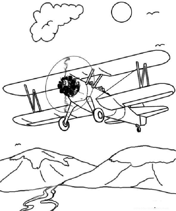 Самолет, полет над горами Раскраски для мальчиков бесплатно