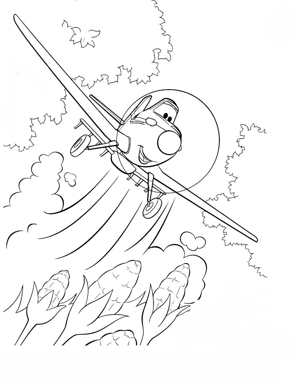 Самолеты дисней, полет над кукурузным полем Раскраски для мальчиков