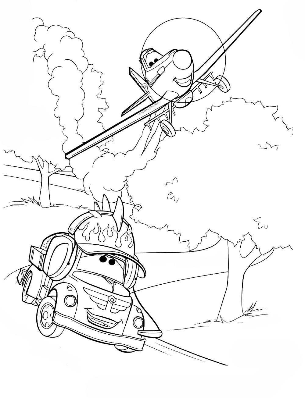 Самолеты дисней, самолет разговаривает с тачкой, дорога, деревья Раскраски для мальчиков