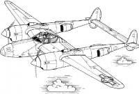 Самолет с соединенными двумя хвостами Раскраски для мальчиков бесплатно