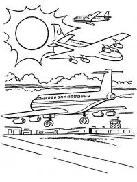 Самолеты, аэропорт, взлетная полоса Раскраски для мальчиков