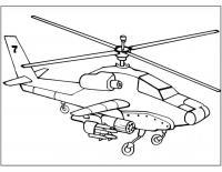 Военный вертолет с оружием Раскраски для мальчиков бесплатно