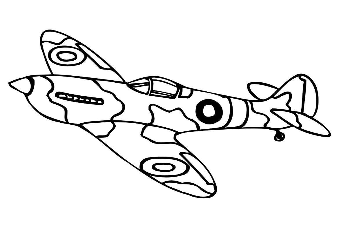 Самолет в защитного окраса Раскраски для мальчиков бесплатно