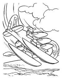 Собака управляет самолет, приземление на воду Раскраски для мальчиков бесплатно