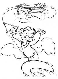 Мишка летит на доске прикрепленной к самолету Раскраски для мальчиков бесплатно