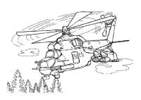 Вертолет летит над лесом Раскраски для мальчиков бесплатно