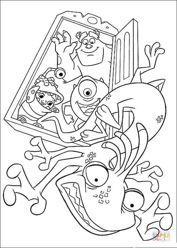Корпорация монстров, монстры с ребенком машут рукой падающему за дверь восьмилапому монстру Раскраски для мальчиков