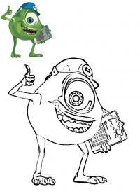 Корпорация монстров, одноглазый монстр показывает класс Раскрашивать раскраски для мальчиков