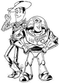 Космонавт баз и ковбой Скачать раскраски для мальчиков