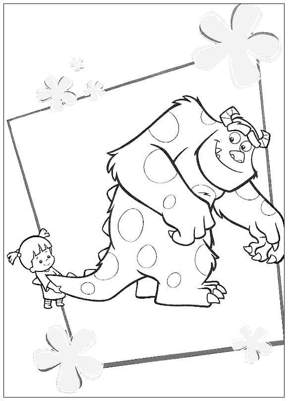 Корпорация монстров, девочка тянет большого рогатого монстра за хвост Раскраски для мальчиков