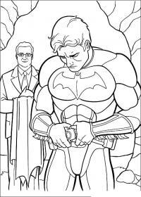 Бэтмен в своем логове и его дворецкий Раскраски для детей мальчиков