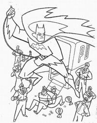 Бэтмен летит над городом, люди, преступники Раскраски для детей мальчиков