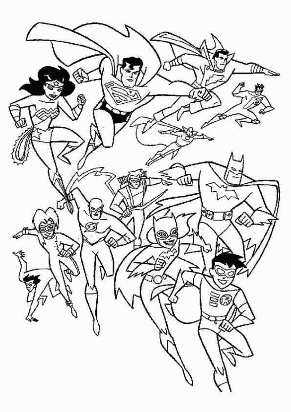 Бэтмен, бетгел, робин, супермен и остальные супергерои Раскраски для детей мальчиков