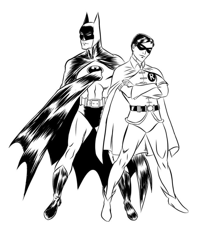 Бэтмен и робин Раскраски для детей мальчиков