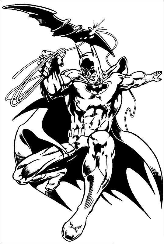 Бэтмен в полете с оружием в виде летучей мыши Раскраски для детей мальчиков