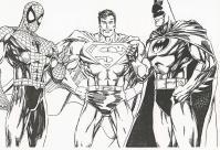 Бэтмен супермен и человек паук Раскраски для детей мальчиков