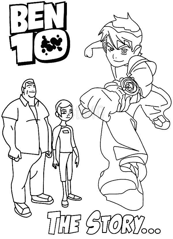 Бен тен, дедушка и сестра Скачать раскраски для мальчиков