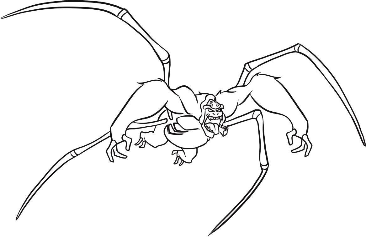 Инопланетянин похожий на паука Скачать раскраски для мальчиков