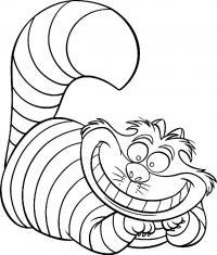 Из мультфильмов, полосатый большой кот, чеширский кот Распечатать раскраски для мальчиков