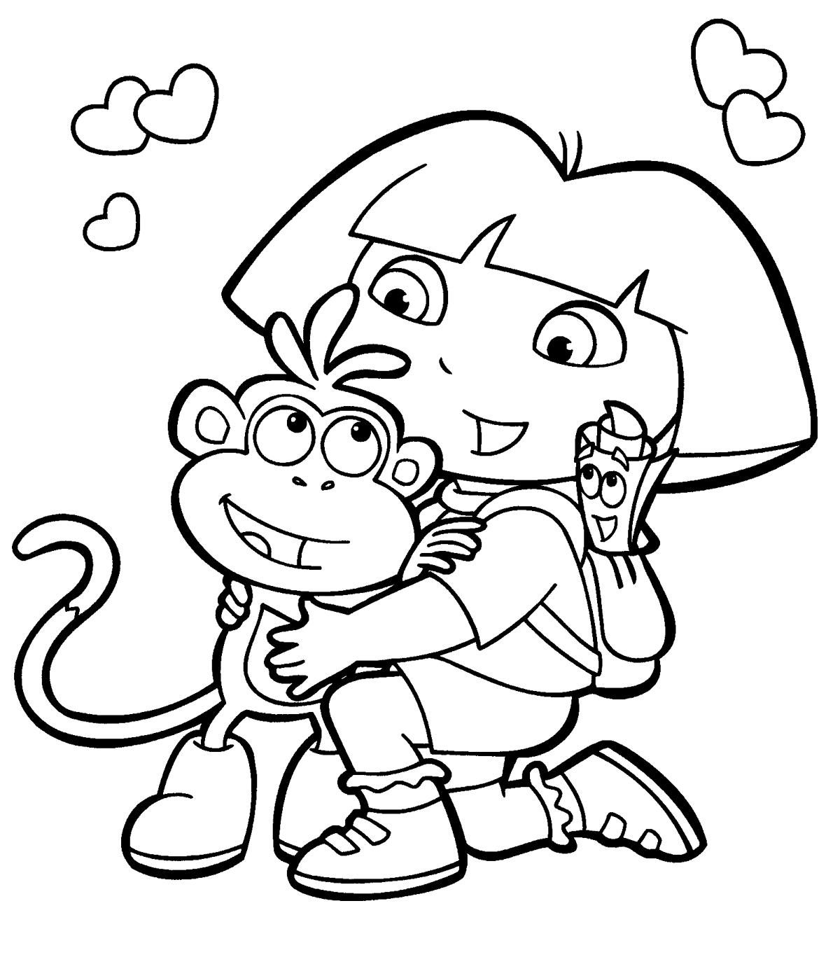 Дора с обезьянкой из мультфильмов Распечатать раскраски для мальчиков