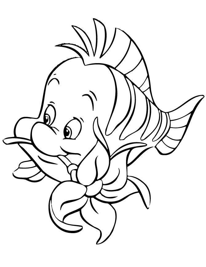 Рыбка с цветком в зубах из мультфильмов Распечатать раскраски для мальчиков