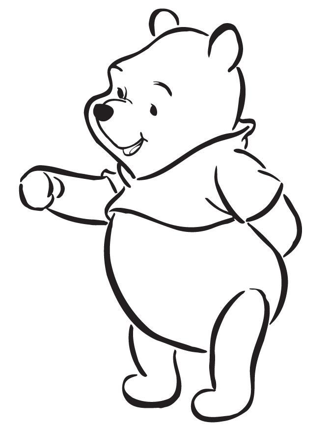 Винни пух протягивает лапу из мультфильмов Распечатать раскраски для мальчиков